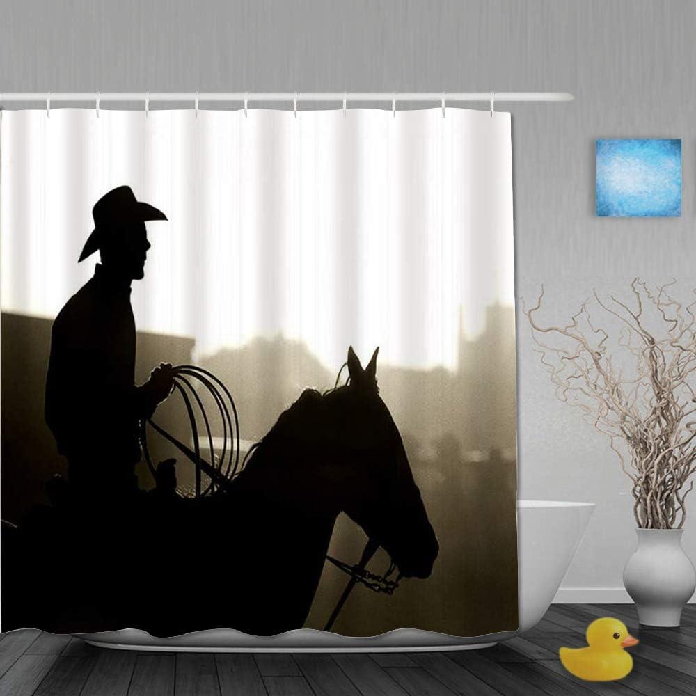 BCVHGD Cortinas de Ducha,Western Cowboy con Caballo y Lazo Silueta polvorienta retroiluminada, Cortina de Baño Material de poliéster Resistente al Agua con Ganchos 180 * 210cm