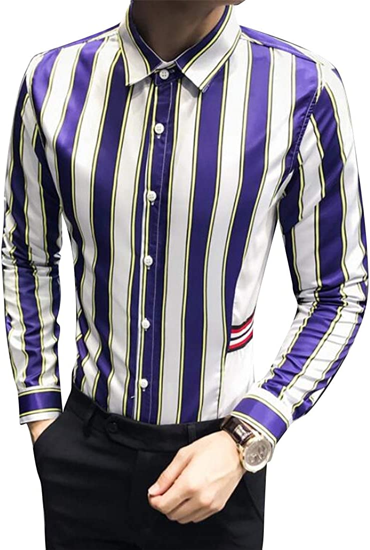 GRMO Men Regular Fit Long Sleeve Club Hair Stylist Work Stripe Button Down Dress Work Shirt