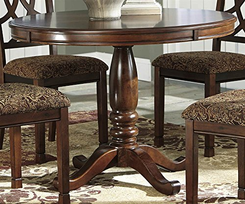 Table Dining Veneer Birch Round - Ashley Express Round Dining Table in Medium Brown Finish