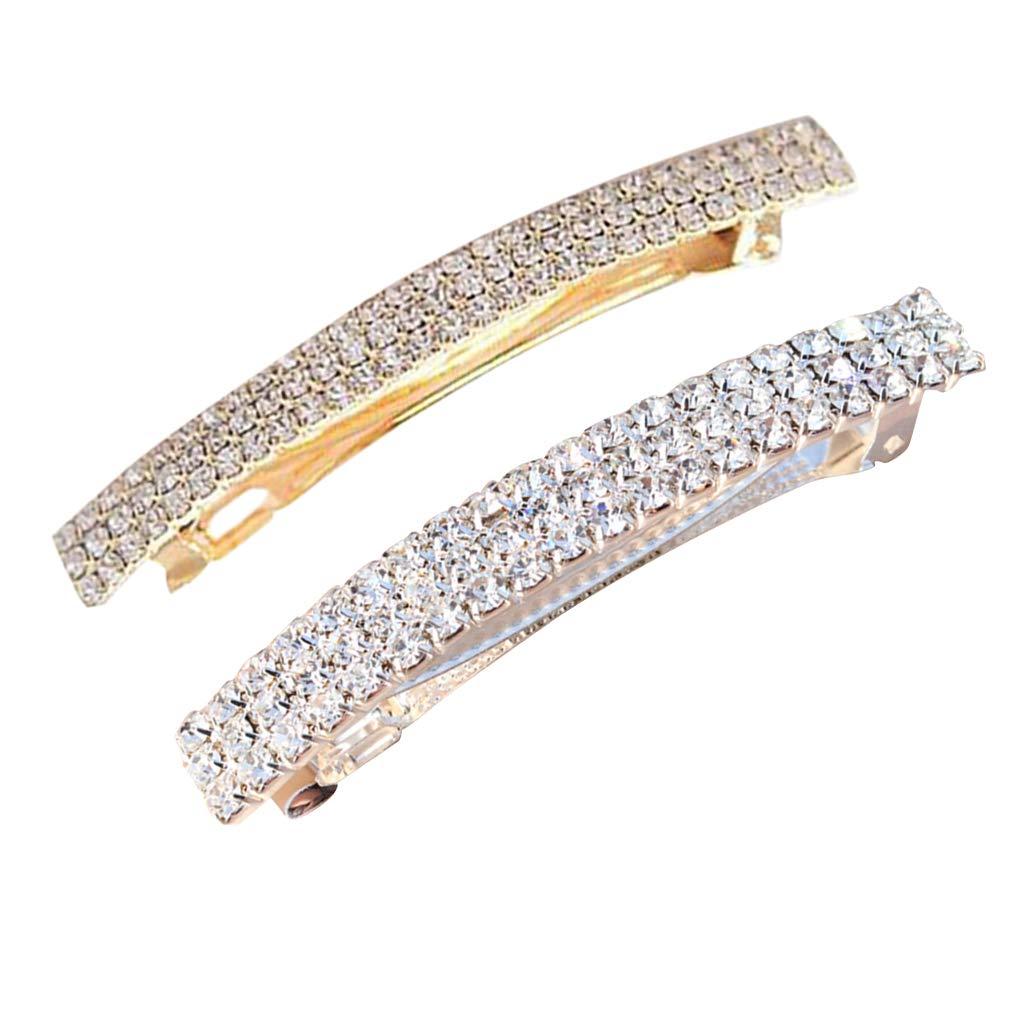 P Prettyia 2 Piezas De Diamantes De Imitació n Rectá ngulo Francé s Pasador Pinzas para El Cabello Automá tico Pasador De Primavera