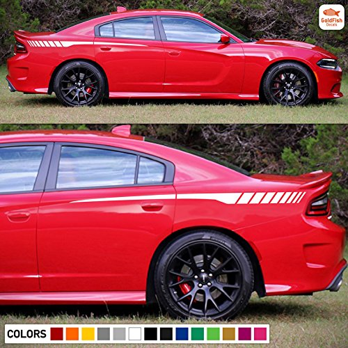 Side Sport Rear Panel Stripes Decal Sticker Graphic Compatible with Dodge Charger SRT R/T (Dodge Charger Quarter Panel)