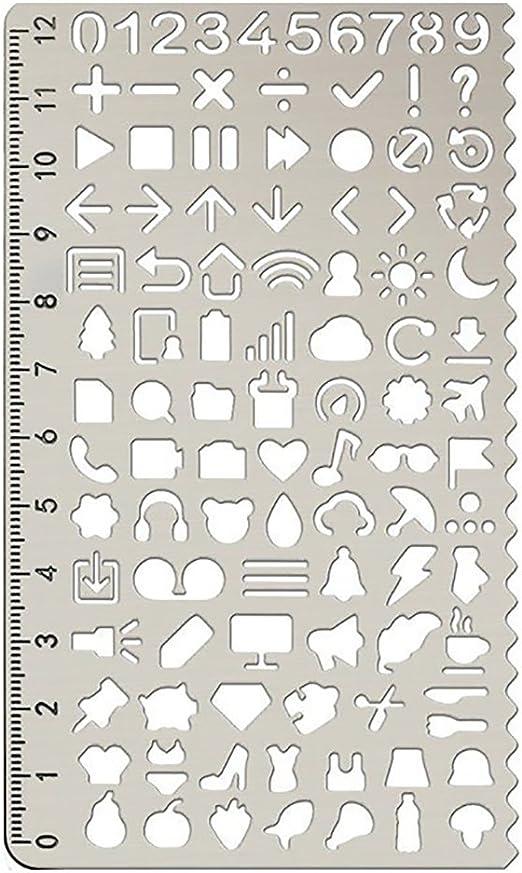 Oyfel Regla de Metal de Pintura Plantilla para c/írculo m/ágico ni/ño Decorativo Fournitures scolaires papeler/ía Regalo 12.5/* 7.5/cm 1/pcs