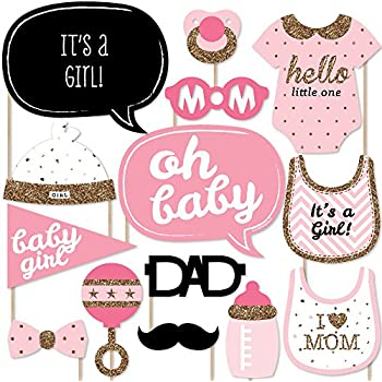 Hello Little One   Pink And Gold   Girl Baby Shower Photo Booth Props Kit