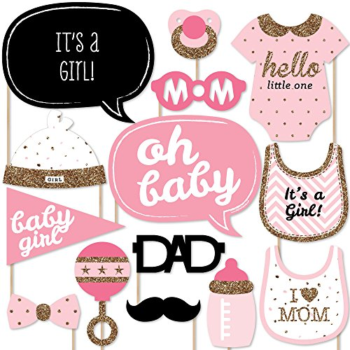 Big Dot of Happiness Hello Little One - Pink and Gold - Girl Baby Shower Photo Booth Props Kit - 20 Count Dots Girl Baby Shower
