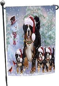 Christmas Running Family Bernese Mountain Dogs Garden Flag GFLG55756