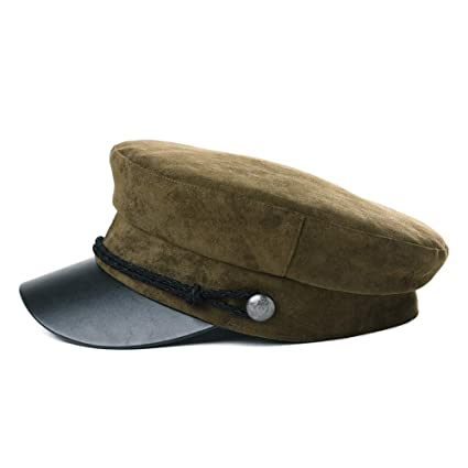 b17df5543a960 Womens Greek Fisherman Newsboy Cap Fashion Cotton Lining Winter Fall Suede  Rope Hat Army Green