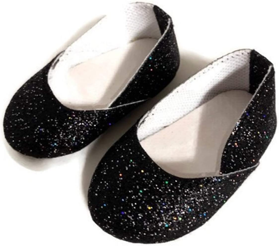 """Doll Clothes 18/"""" Shoes Black Sparkle Glitter Fits American Girl Dolls"""