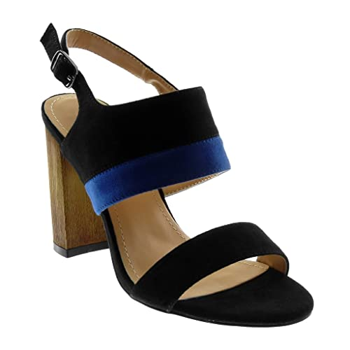 Bloc Escarpin 10 Cm Bois Chaussure Femme Talon Mode Haut Bicolore Sandale Lanière Cheville Angkorly k0wOXnP8