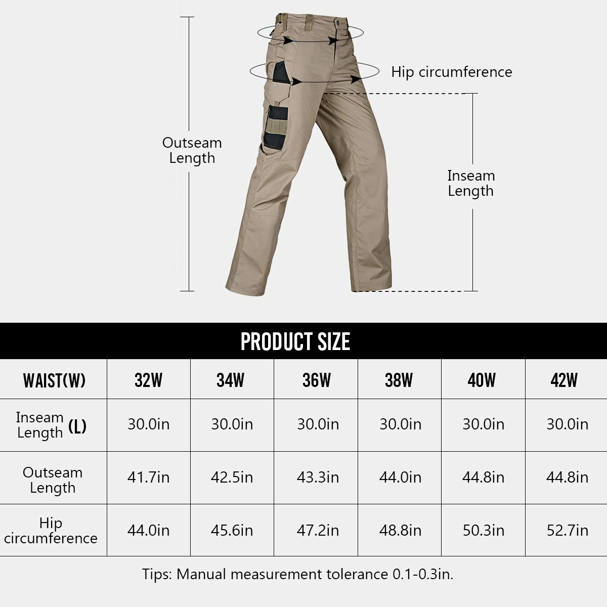 FREE SOLDIER Men/'s Tactical Pants Lightweight Water-Resistant Durable Cargo Pants Outdoor Hiking Fishing Duty Pants Multi-Pockets Pants