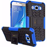 Heartly Samsung Galaxy J5 (2016) Back Cover Kick Stand Rugged Shockproof Tough Hybrid Armor Dual Layer Bumper Case - Power Blue