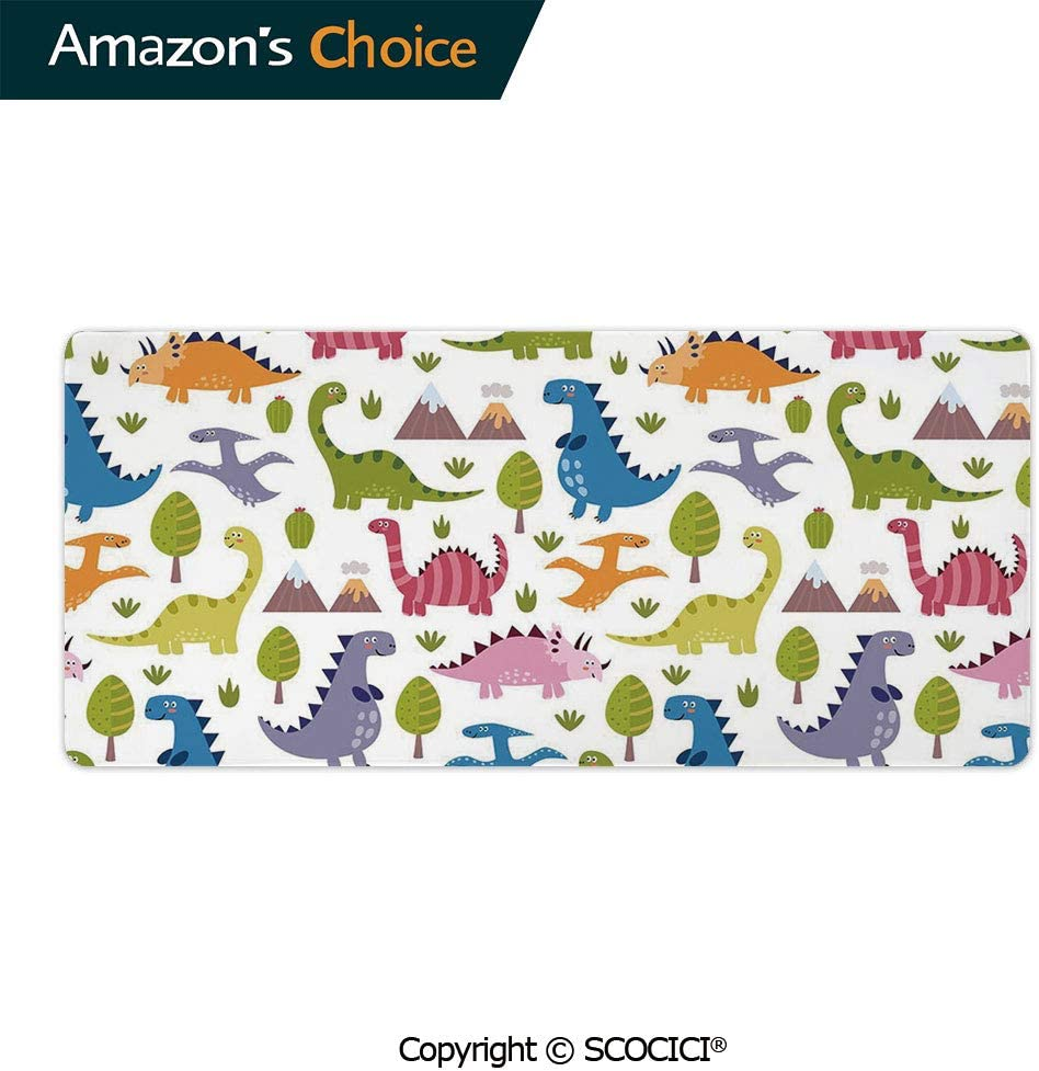 """YOLIYANA Large Gaming Mouse Pad Locking Edge Mouse Mat Cartoon Style Colorful Lovely Dinosaurs T Rex Triceratops Prehistoric Gaming Mouse Anti-Slip Rubber Mousepad for Laptop 23.6"""" x 11.8"""""""