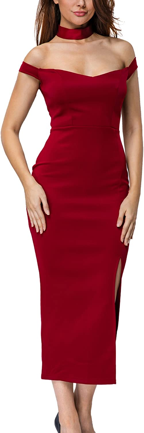 METERDE Womens Bodycon Fit Slit Detail Club Party Dress with Choker