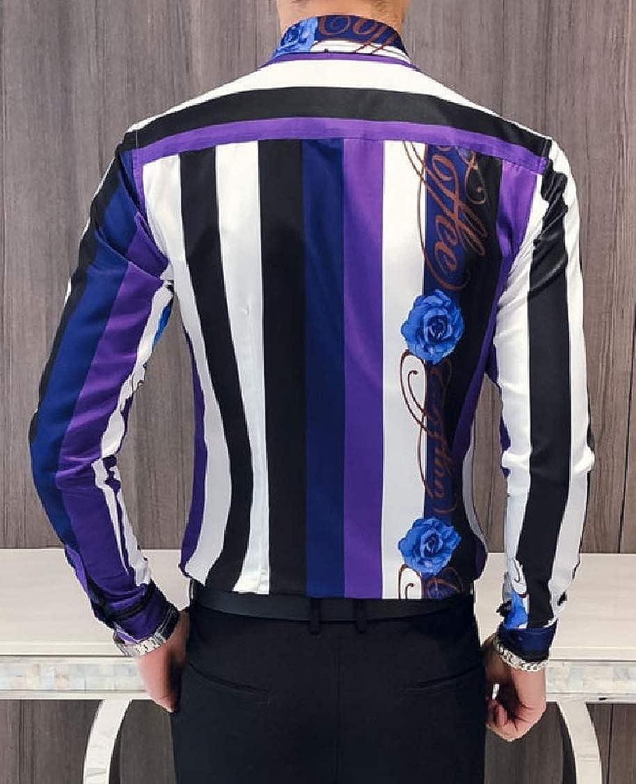 Hajotrawa Men Turn Down Vogue Printing Stripe Long Sleeve Button Up Shirts