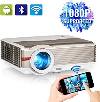 5000 Lux WiFi Video Proyector con Bluetooth, Full HD 1080P Soportado Inalámbrico Airplay Proyector de Cine