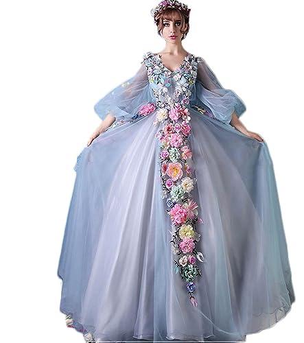 Hot Dresses 3/4 Sleeve Blue Wedding Dress Flowers Tulle Fairy Tale Luxury Bridal Gowns