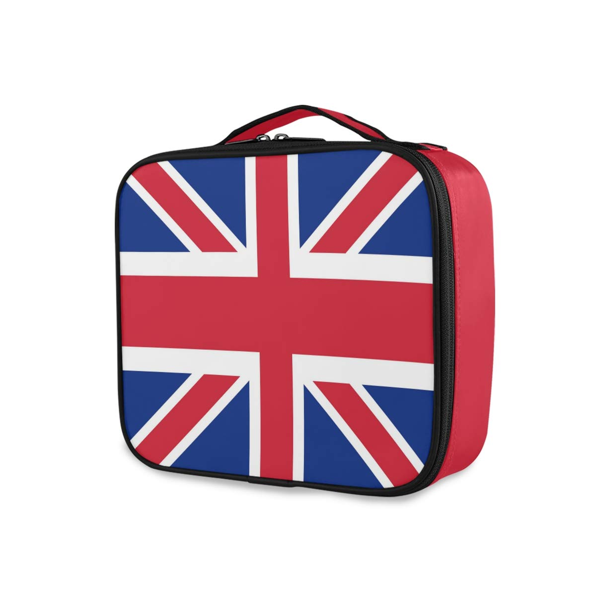 British Flag Travel Makeup Train Case Portable Organizer Cosmetic Bag for Women