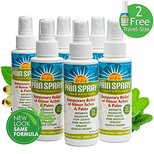 Premiere's Pain Spray Mist 6-Pack (Includes 2 Free Travel Bottles), Drug Free Pain Relief Spray, Natural Remedy for Fibromyalgia Pain, Nerve Pain Relief Spray, Herbal Spray for Carpal Tunnel