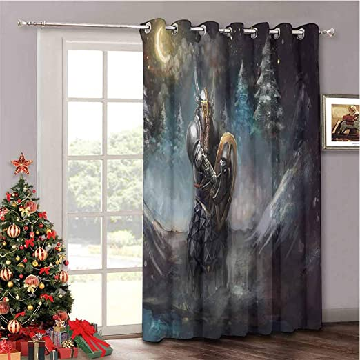 Drapes for Living Room Sliding Door W52 x L84 Inches Aishare Store Aurora Borealis Sliding Glass Door Drapes Sky Over Lake Surrounded Forest Woods Hemisphere Print
