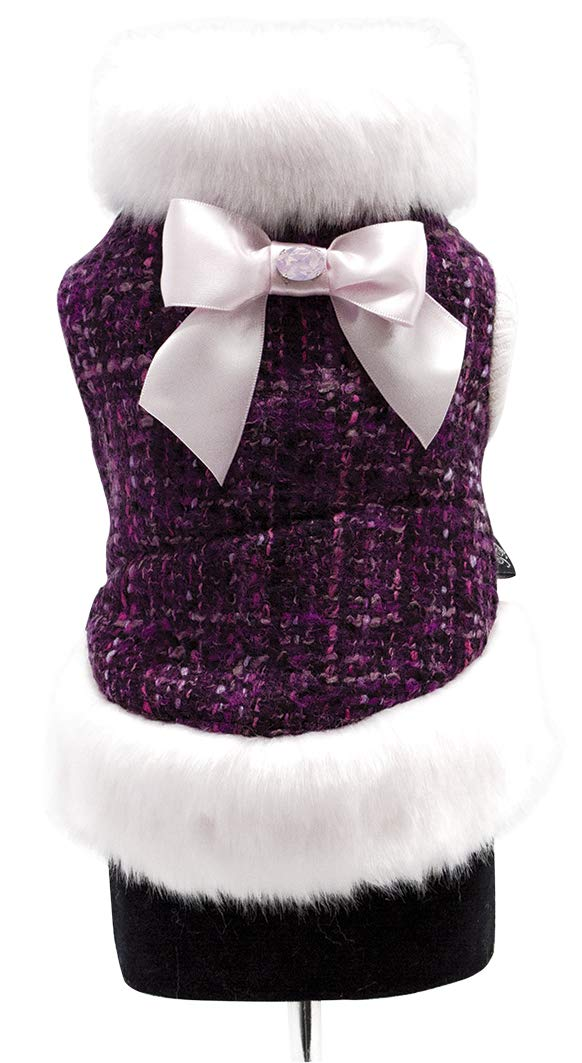 Trilly tutti Brilli Nymphe Wool Coat with Plush interior And Faux Fur Trim Satin Bow with Swarovski Brooch Pin, Purple, Small