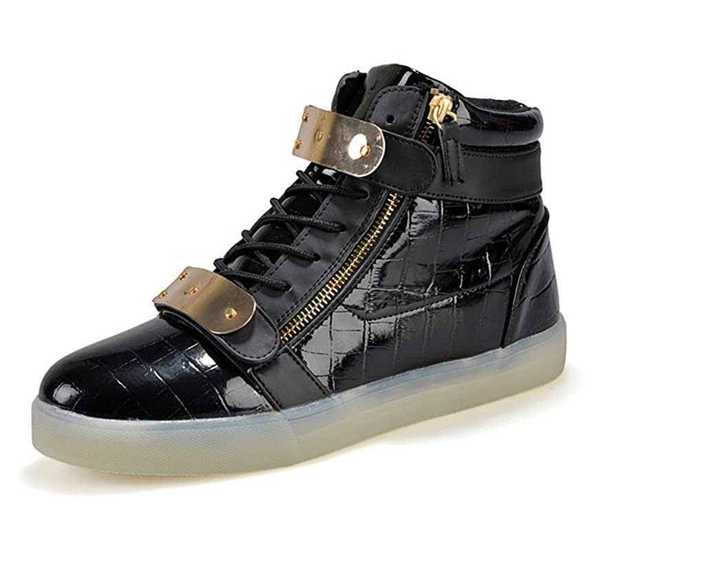 XIN BARLEY Boy Girl LED Light Up Shoes Street Style Gold Tone Zip Sneakers black34 Toddler//Little Kid//Big Kid