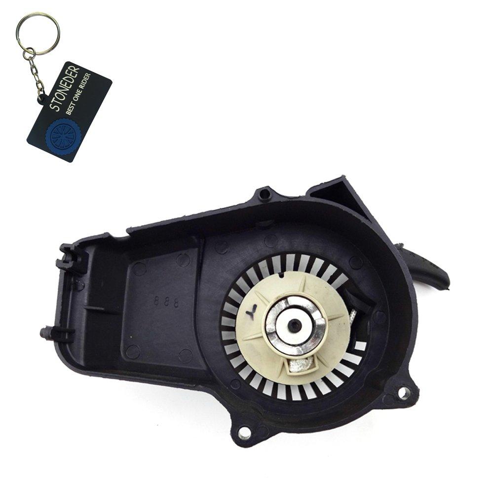 Avviamento autoavvolgente a strappo Stoneder, nero in plastica, a 2 tempi, 47 cc, 49 cc, motore per minimoto pocket, minimoto Dirt Bike, ATV, Quad a 4 ruote