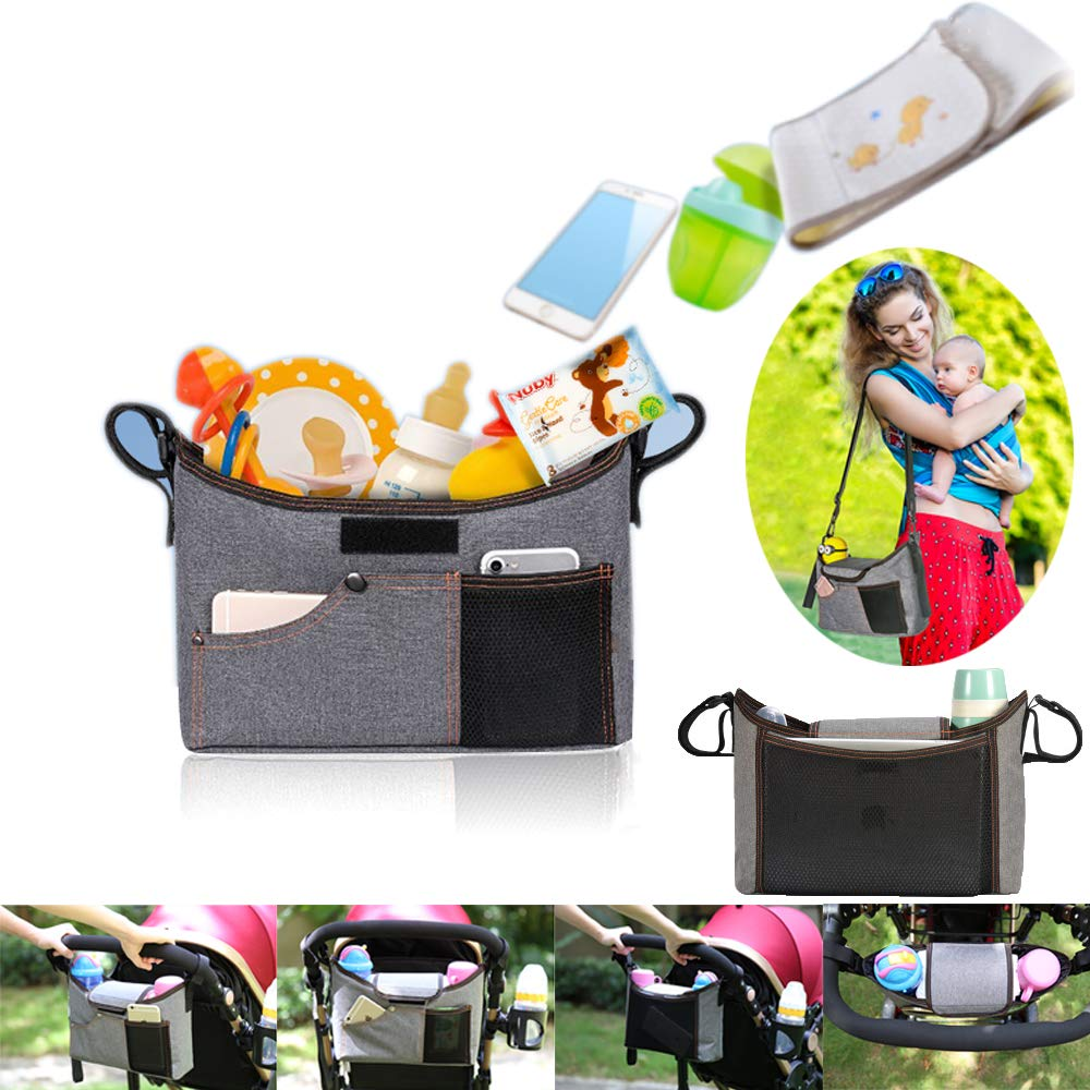 Universal Baby Stroller Organizer with Cup Holder with Shoulder Strap,YOCICO Stroller Accessory Fits for Stroller Like Uppababy, Baby Jogger, Britax, Bugaboo, BOB, Umbrella and Pet Stroller