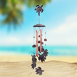 Sea Turtle Wind Chimes Outdoor Deep Tone,Memorial Wind Chimes with 4 Tubes,Metal Wind Chimes for Outside,Suitable for Home,Patio,Porch,Garden or Backyard and Women Gift (Sea Turtle)