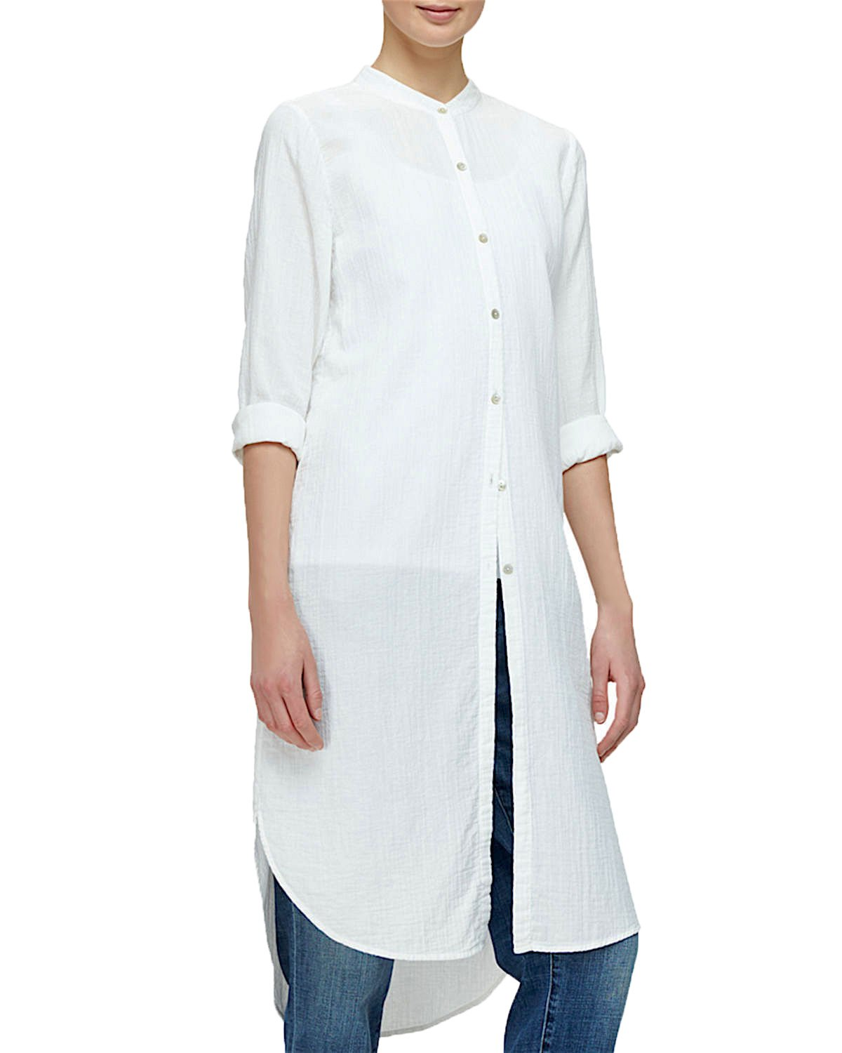 Eileen Fisher Women's Mandarin Collar Layering Shirtdress (Medium, White)