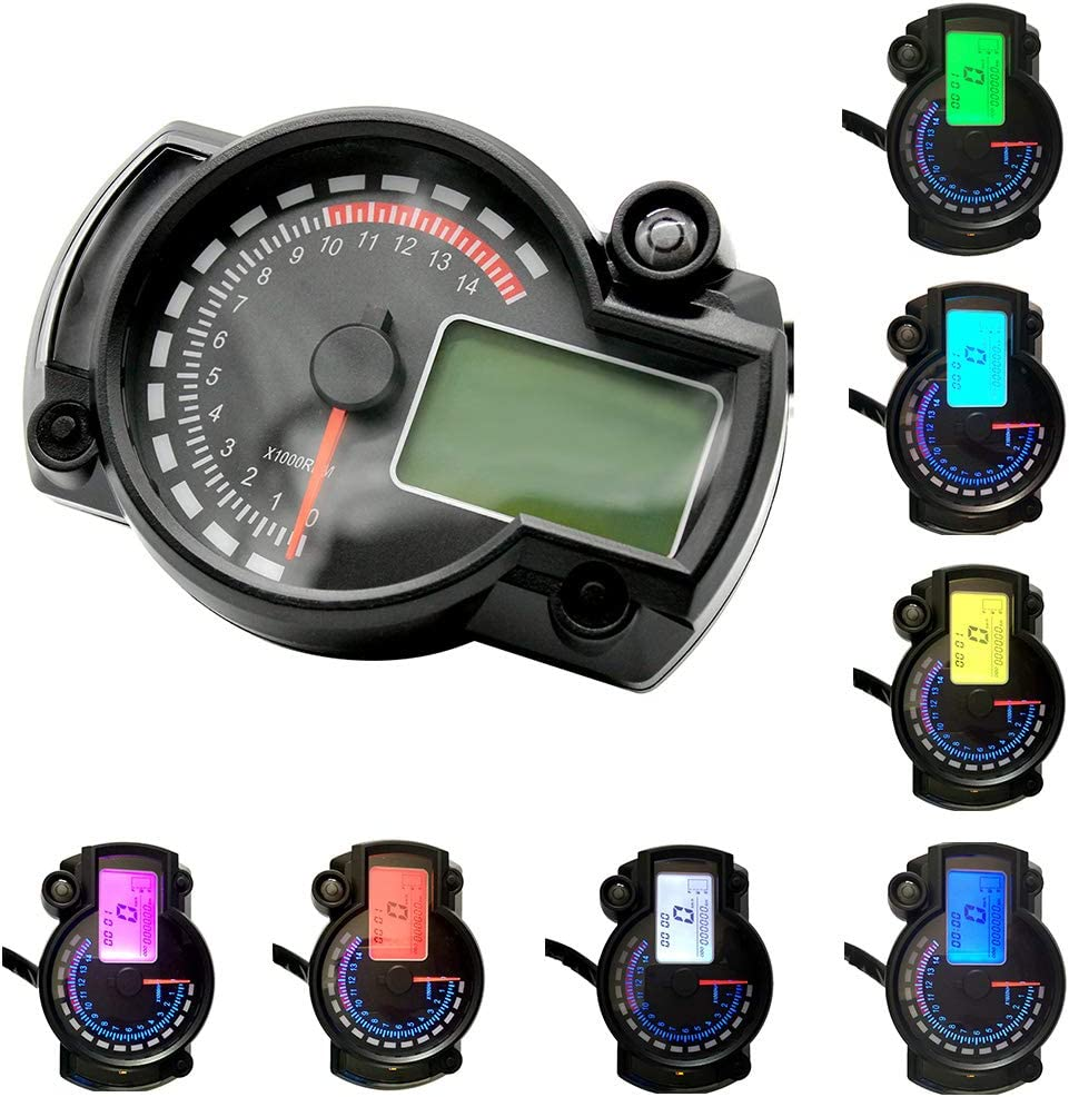 Keenso Universal DC 12V Motorcycle Digital Colorful LCD Speedometer Odometer Tachometer W//Speed Sensor