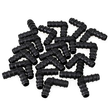 Codos conectores para riego de jardín o agrícola, 20 piezas, 16 mm, color negro: Amazon.es: Jardín