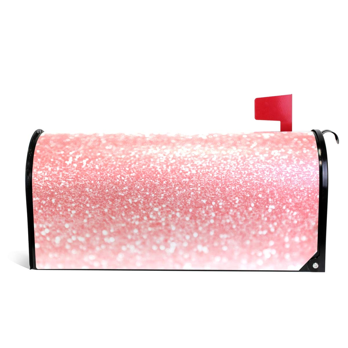 WOOR Pink Glitter Sparkle Magnetic Mailbox Cover Oversized-20.8x 25.5