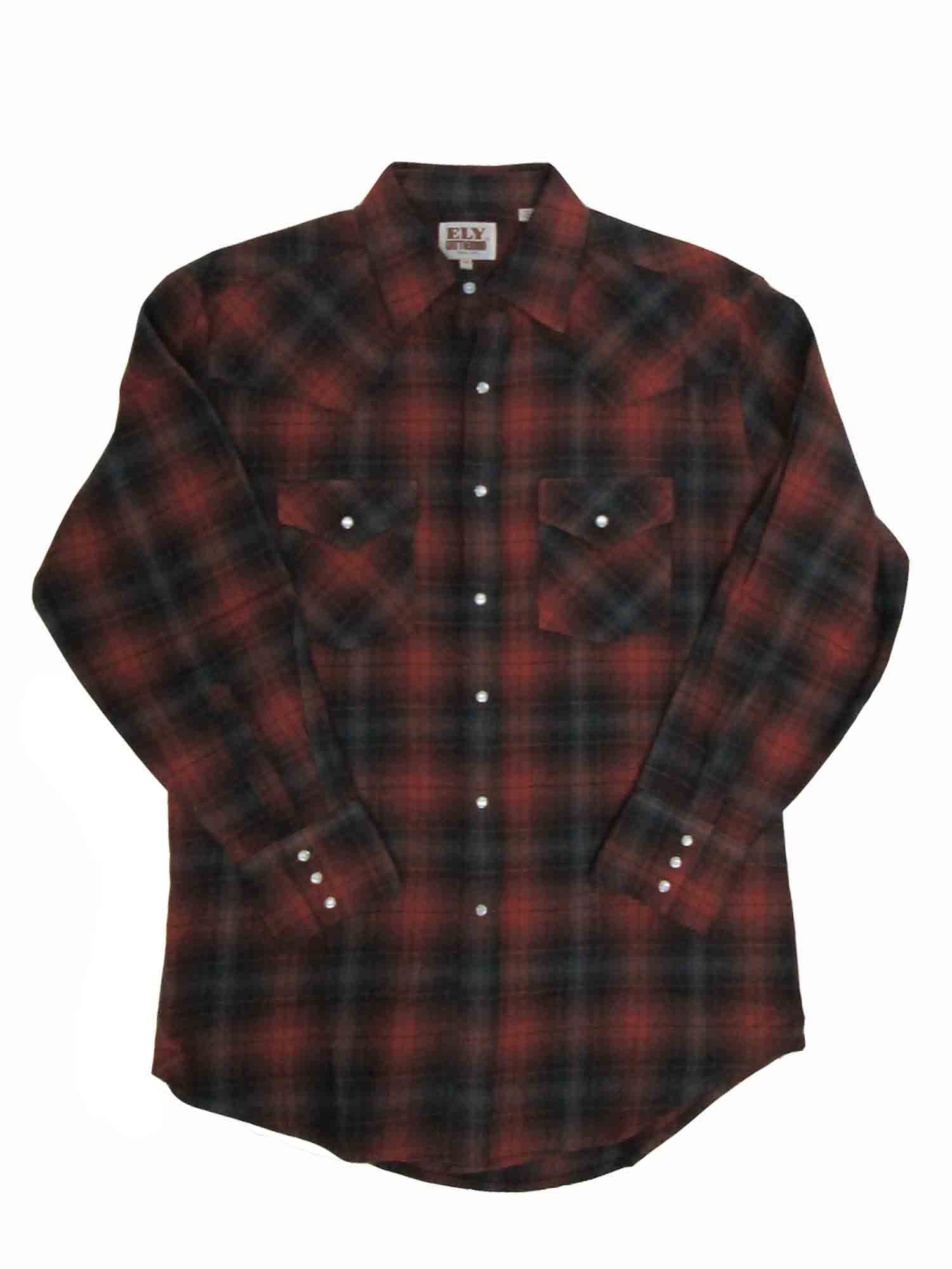 Ely Cattleman Mens Western Brawny Heavy Duty Flannel Plaid 4-Shirt Bundle Pack by ELY CATTLEMAN