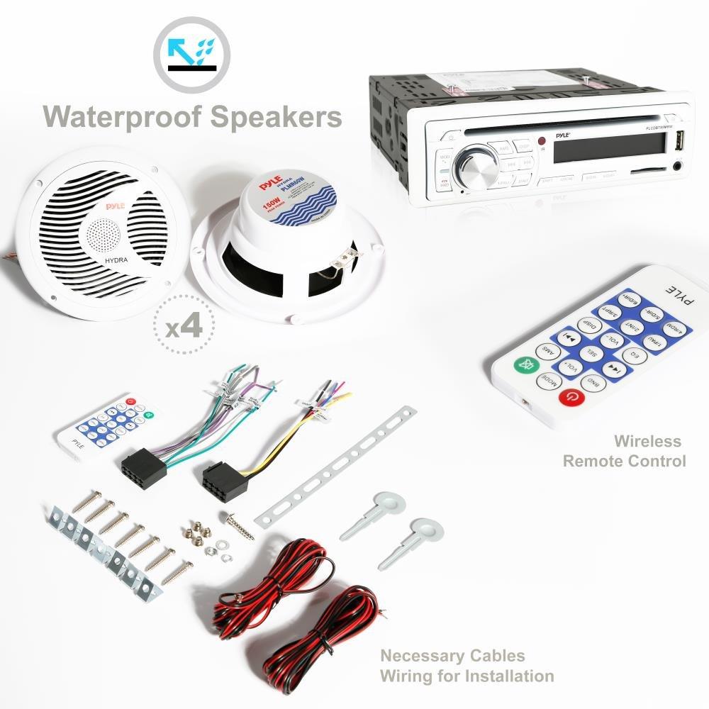 Pyle Marine Stereo Receiver Speaker Kit Plcdbt85mrw In Dash Lcd Wiring Speakers To Digital Console Built Bluetooth Microphone 65 Waterproof 4 W