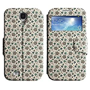 AADes Scratchproof PU Leather Flip Stand Case Samsung Galaxy S4 IV i9500 ( Teacups And Kettle )