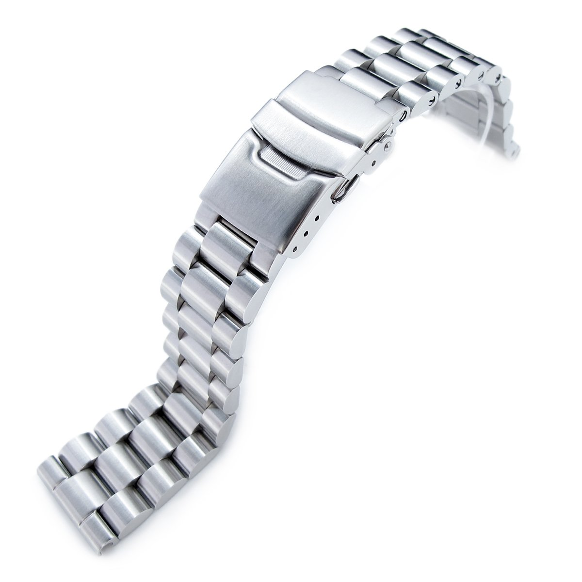22mm Endmill Solid Metal Watch Bracelet, 316L Stainless Steel, Straight End