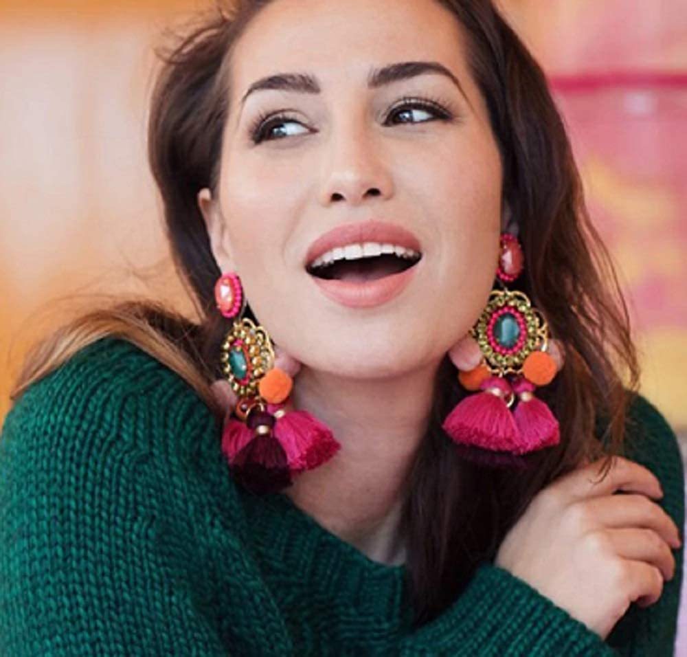 Bright Colorful Bohemian Drop Hairball Earrings Handmade Tassel