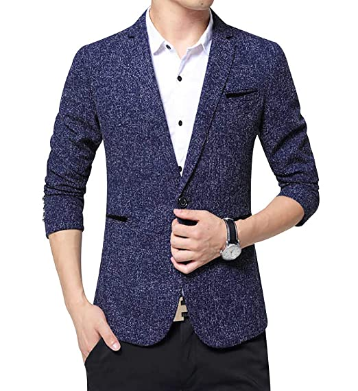 LISUEYNE Men`s Linen Stylish Blazer Light Weight One Button Slim Fit Smart Formal Suits Jacket Wine Red, S