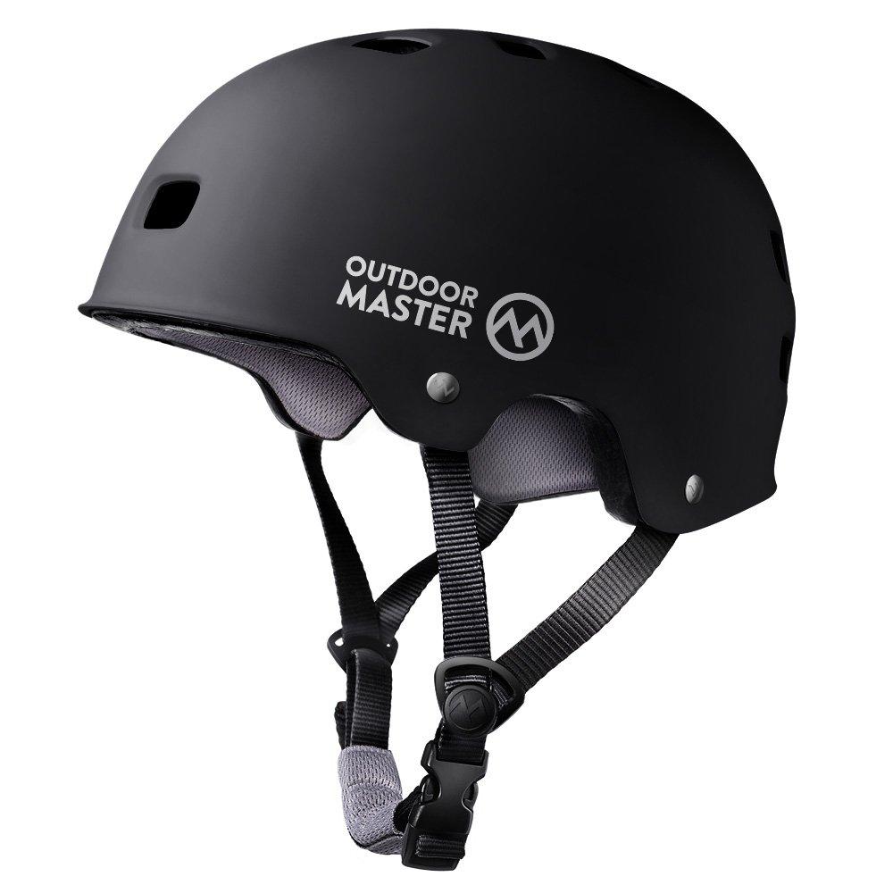 OutdoorMaster Skateboard Helmet - Lightweight, Low-Profile Skate Helmet & Removable Lining - 12 Vents Ventilation System - M - Black