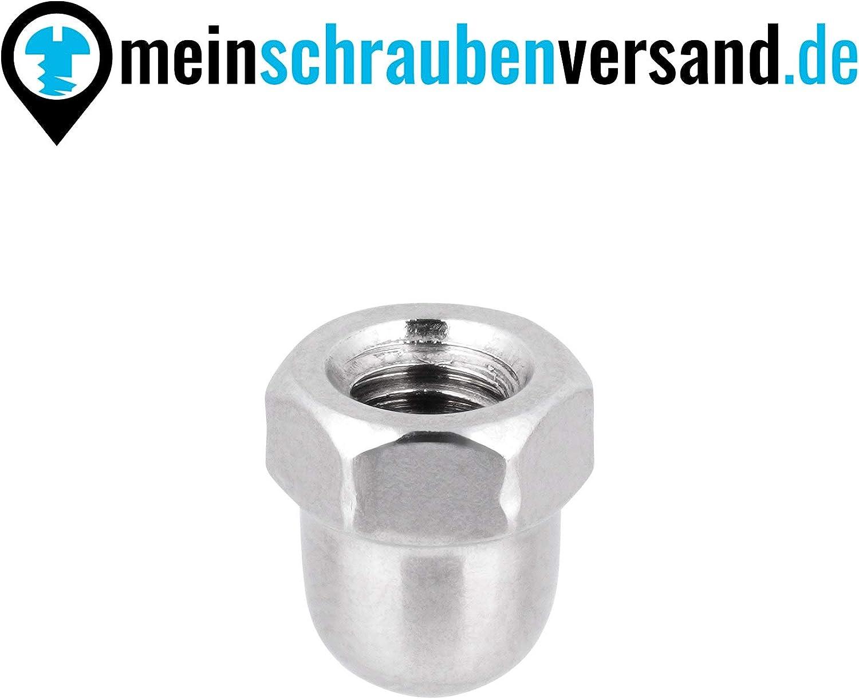 Hutmuttern Sechskant M3 hohe Form DIN 1587 Edelstahlmuttern A2 Kappenmuttern Sechskantmuttern cap nuts M3 50 St/ück