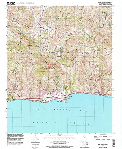 Malibu Beach CA topo map, 1:24000 scale, 7.5 X 7.5 Minute, Historical, 1995, updated 1999, 26.8 x 22 IN - - Map Of Canyon Topanga