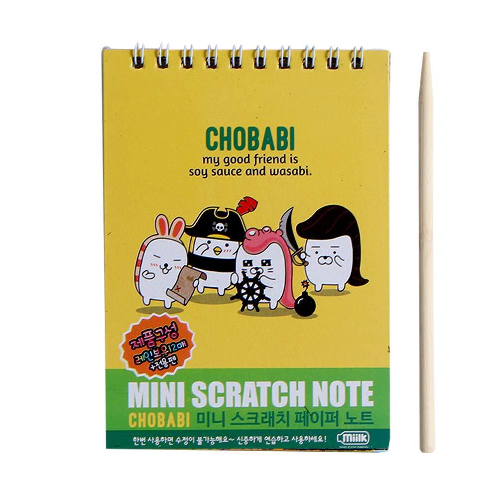 Jinjin Developmental Toy- Scratch Art Magic Paper Painting Drawing Colorful Stick Sketch (C)