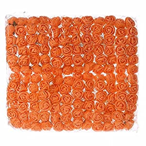 Rose DIY 144 PCS Head Flowers Artificial Flowers Wedding Bride Bouquet PE Foam DIY Party Festival Home Decor Garland Wreaths Flowers (Orange) 41