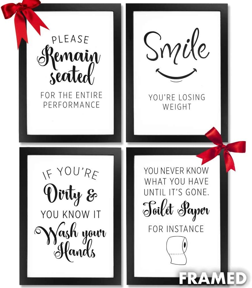 Amazon Com Bathroom Pictures Wall Frames Decor Framed Wall Art Quotes For Farmhouse Rustic Country Or Modern Room Home Decor Accessories 4pc Multi Black Picture Certificate Frame A4 Prints Wall Hook Posters
