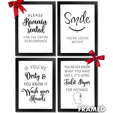 Wall Decor Bathroom Picture Frames. Framed wall art quotes for farmhouse rustic country or modern room home decor bathroom accessories (4pc) Multi black picture certificate frame A4 prints & wall hook