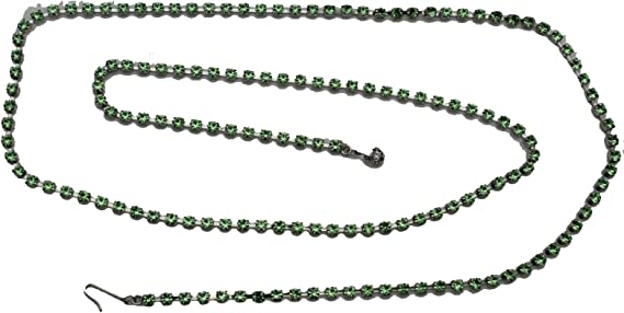 Women Skinny Belt Fashion Silver Metal Green Rhinestones Thin Hip Waist XS S M