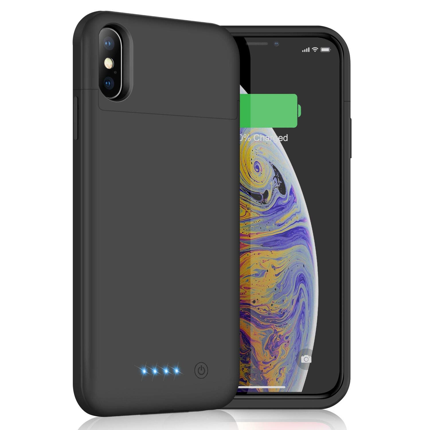 Battery Case for iPhone Xs Max, 6200mAh Slim Portable Charger Case Rechargeable Extended Battery Pack for Apple iPhone Xs Max (6.5 Inch) Protective Charging Case Backup Cover Power Bank (Black)