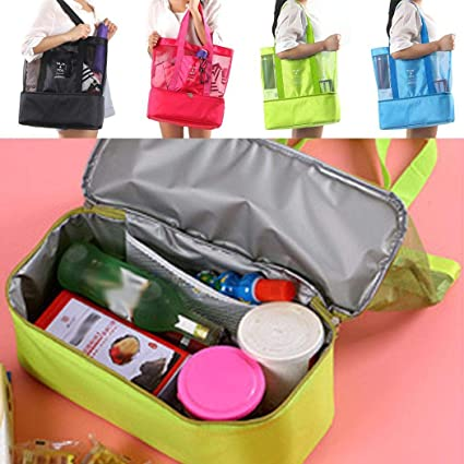 86060ec349fd Tinffy Portable Insulated Thermal Picnic Lunch Box Double Layer Shoulder  Bag Lunch Bags