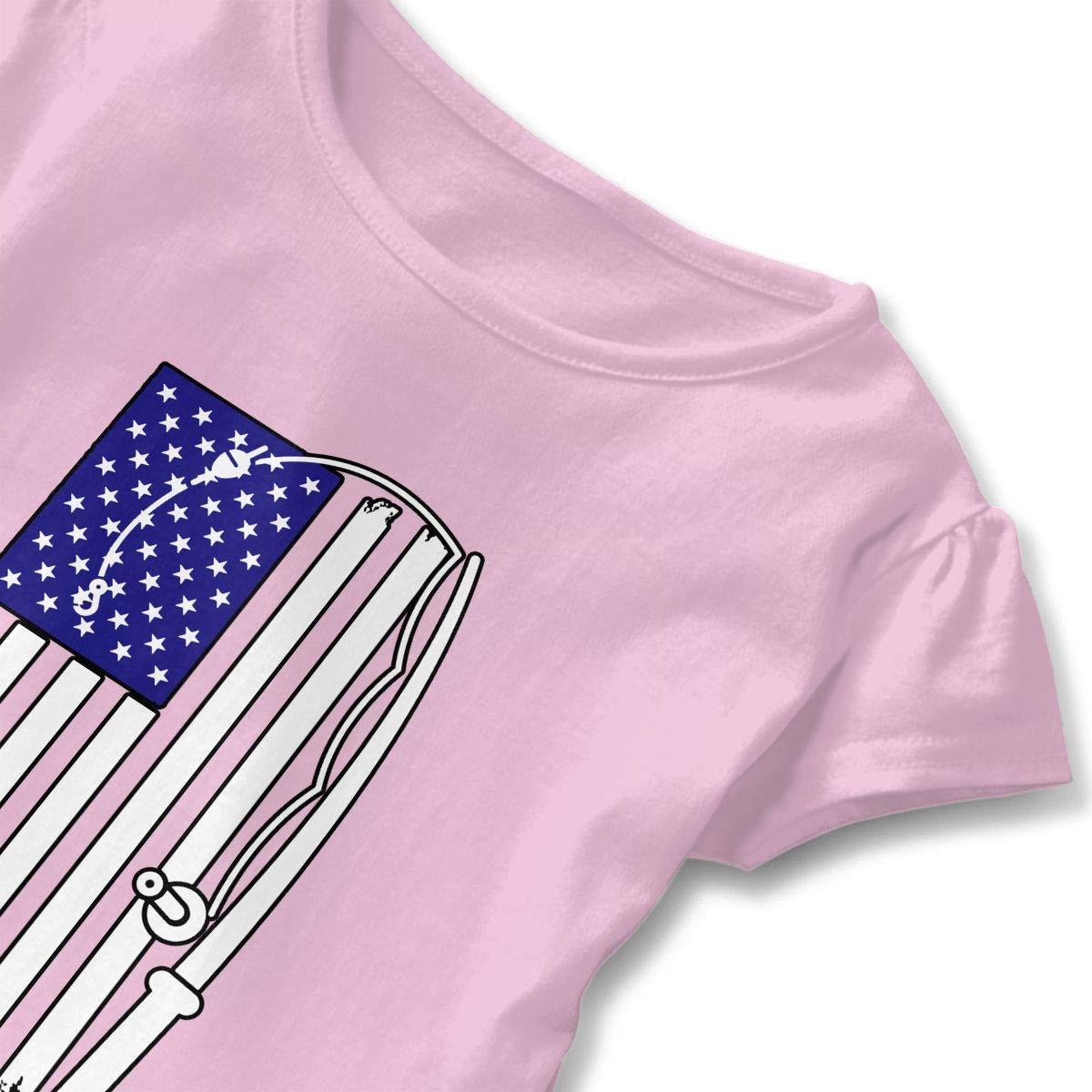 ZP-CCYF American Fishing Rod /& Hook Flag Toddler Baby Girl Ruffle Short Sleeve T-Shirt Comfortable Cotton T Shirts