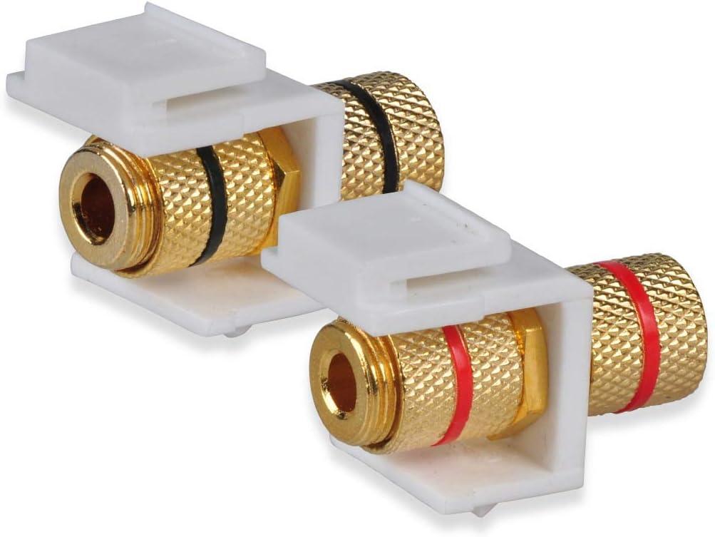 Banana Keystone Plug Binding Post for Speakers 2-Pack Premium Banana Wall Plate Conwork 2-Port Speaker Wire Wall Plate