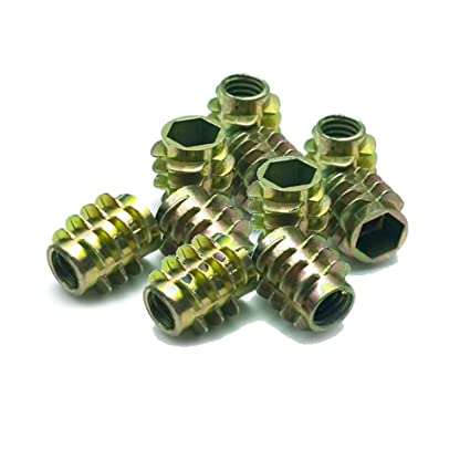 25 PACK M8 x 20 MM HEX DRIVE UNHEAD NUT THREADED FOR WOOD TYPE E INSERT NUTS